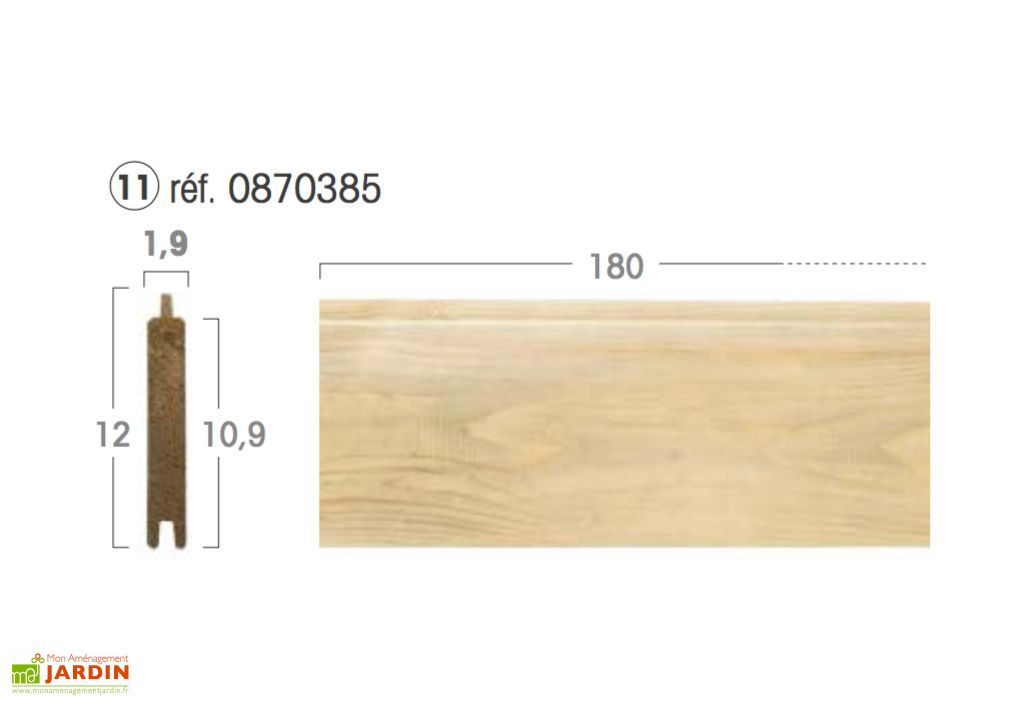 Lame Droite 10,9 x 180 x 1,9 cm pour Panneau Modulable en Kit