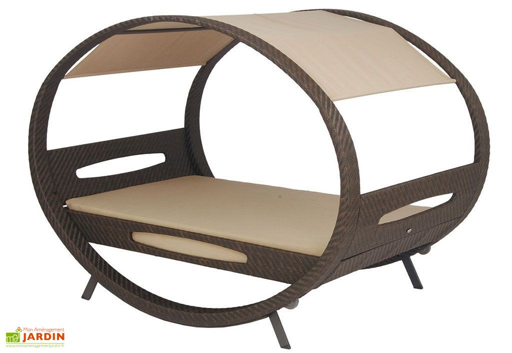 Lit d 39 ext rieur design en osier et sunbrella swing stern for Table exterieur stern