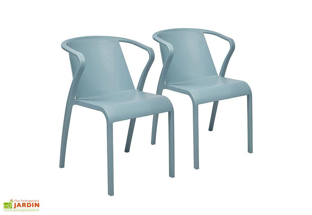 Lot de 2 fauteuils de jardin empilables en polypropylène Fado bleu