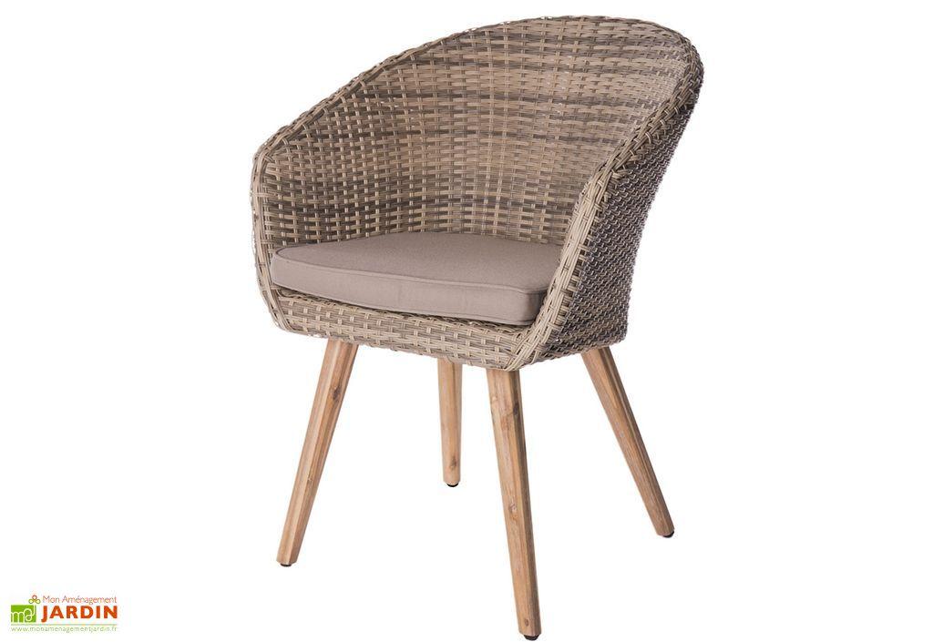 Lot de 4 fauteuils de jardin en aluminium, rotin et bois Marilyn
