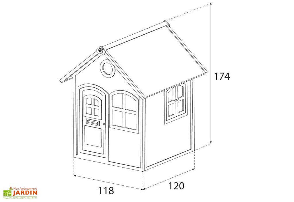 dimensions de la cabane en bois julia axi de 118 x 120 x 174 cm