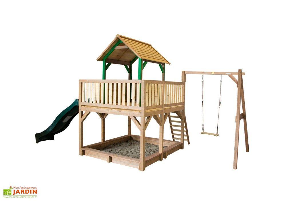 Maison Enfant Bois Atka  Toboggan   Balanoire  Axi