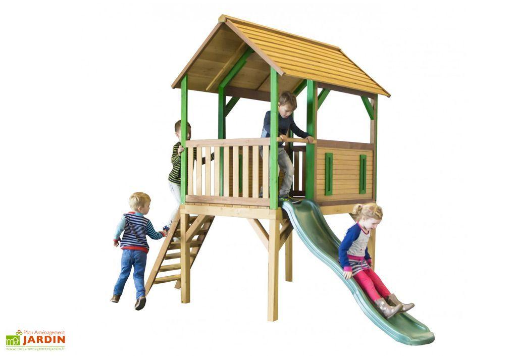 Maison enfant bois cabane toboggan bogo axi - Cabane enfant toboggan ...
