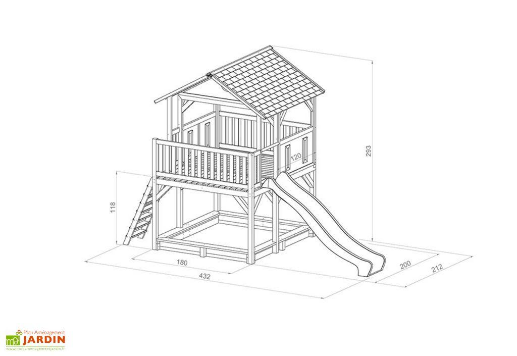 Maison Enfant Bois Cabane + Toboggan + Bac à Sable Simba