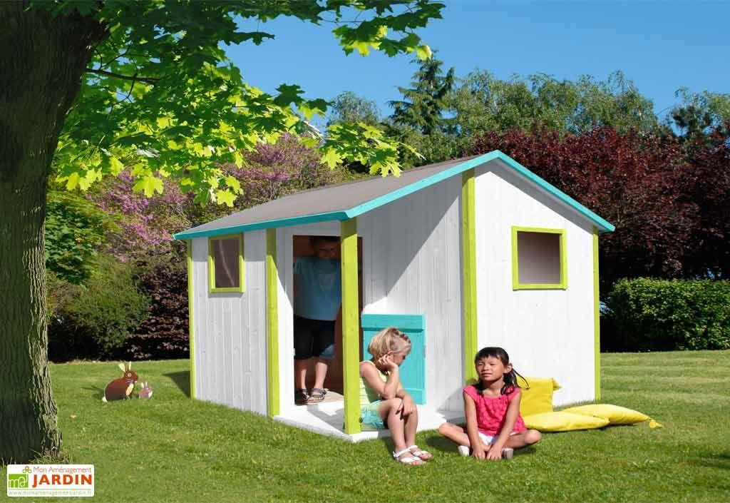Maison enfant bois lisa lisa bois brut peindre ou for Piscine en bois pour enfant