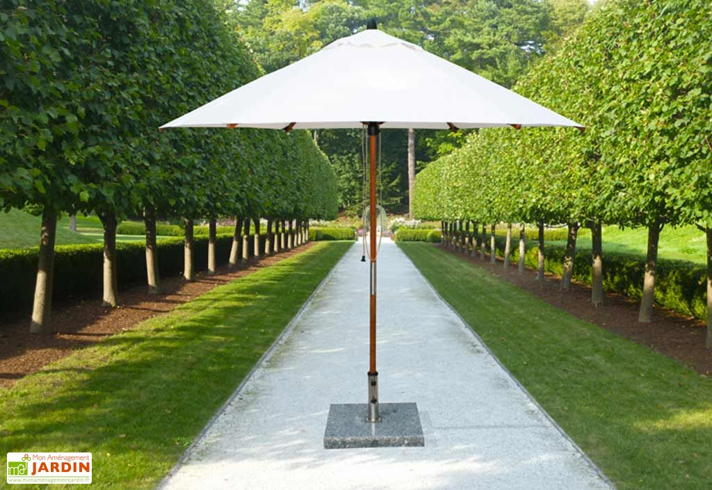 Parasol Rond Bambou + Toile en Polyester 3m + Base