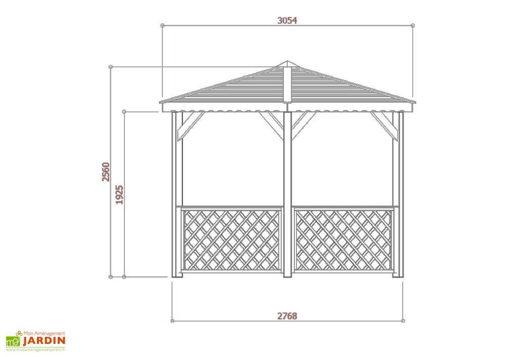 Dimensions Kiosque Hexagonal