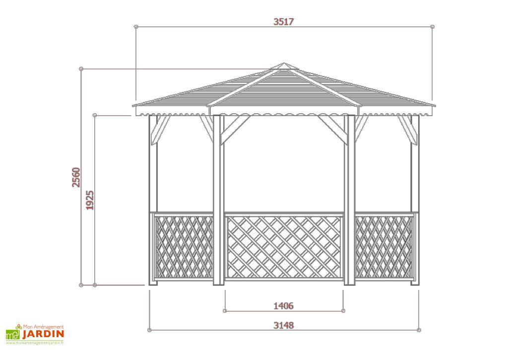 Dimensions Kiosque Hexagonal Bois