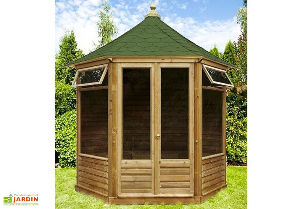 Kiosque de jardin hexagonal en bois pavillon aquitaine 4 for Pavillon jardin bois