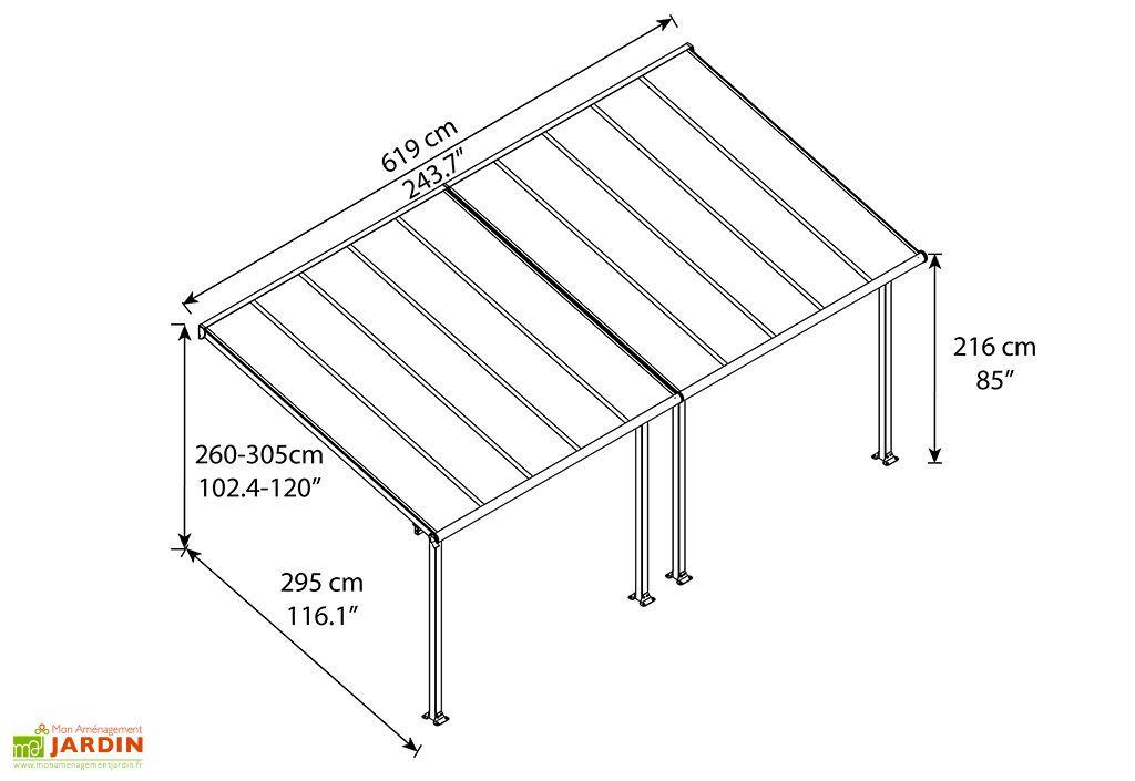 Dimensions de la Pergola Aluminium et Polycarbonate 16 mm Olympia 6,10x3 m