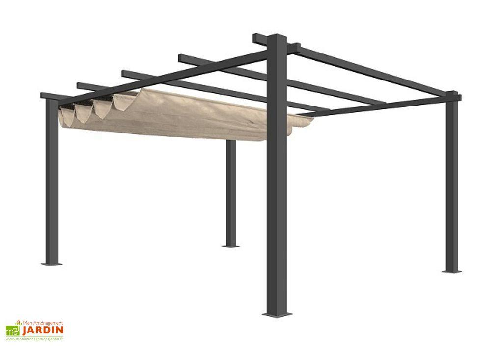 pergola sunshine avec structure en aluminium et toile modulable en polyester