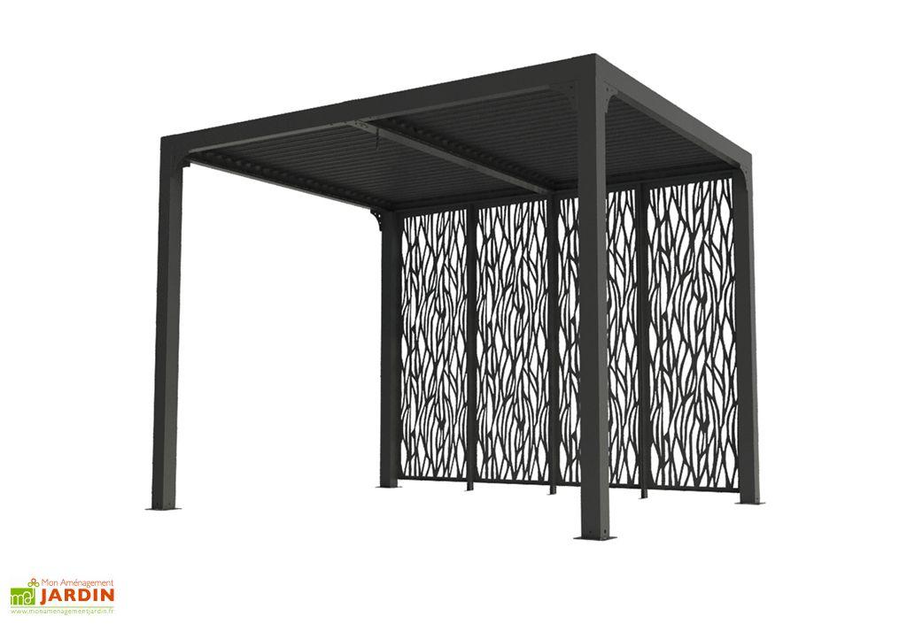 Pergola Bioclimatique en Aluminium avec 4 Panneaux Moucharabieh Habrita 7,2 m² Gris Anthracite