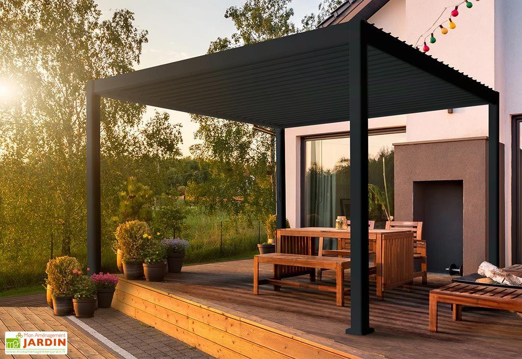 Pergola bioclimatique en aluminium avec lames orientables 3 x 4 m gris anthracite