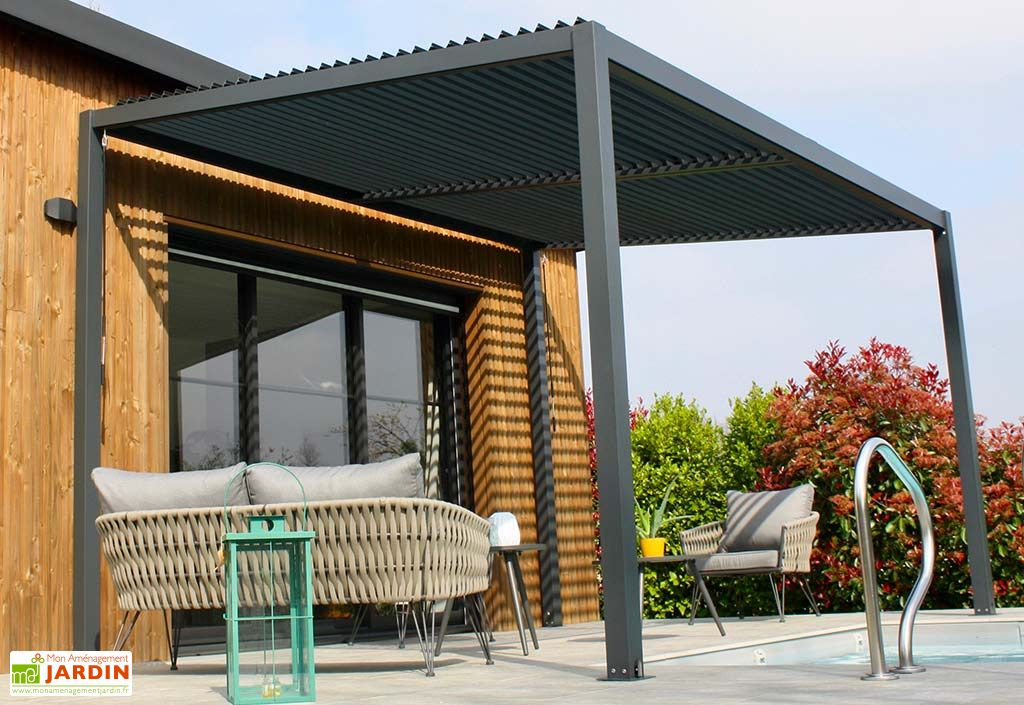pergola bioclimatique en aluminium 3 x 4 m 12 m² lames orientables