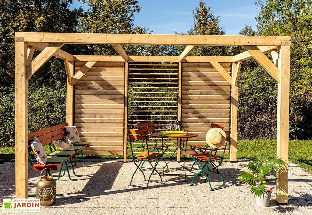 Pergola en bois douglas 3,60 x 3,39 m façade lames orientables Habrita