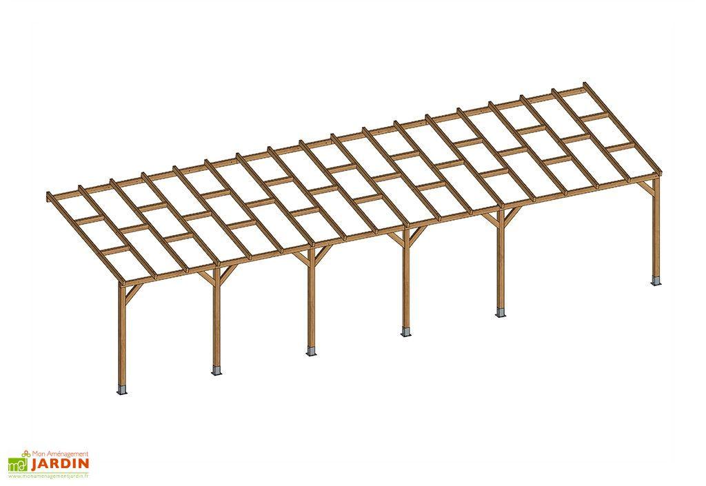 pergola bois traitement autoclave 10m toiture nue