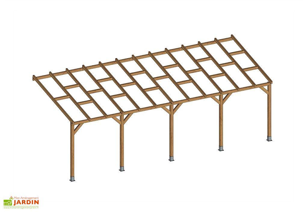 pergola bois traitement autoclave 7m toiture nue