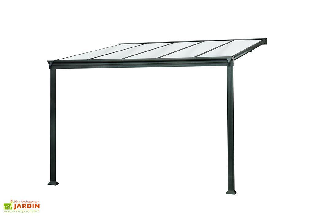 Pergola adossée en aluminium et polycarbonate Cielo 9 m² anthracite