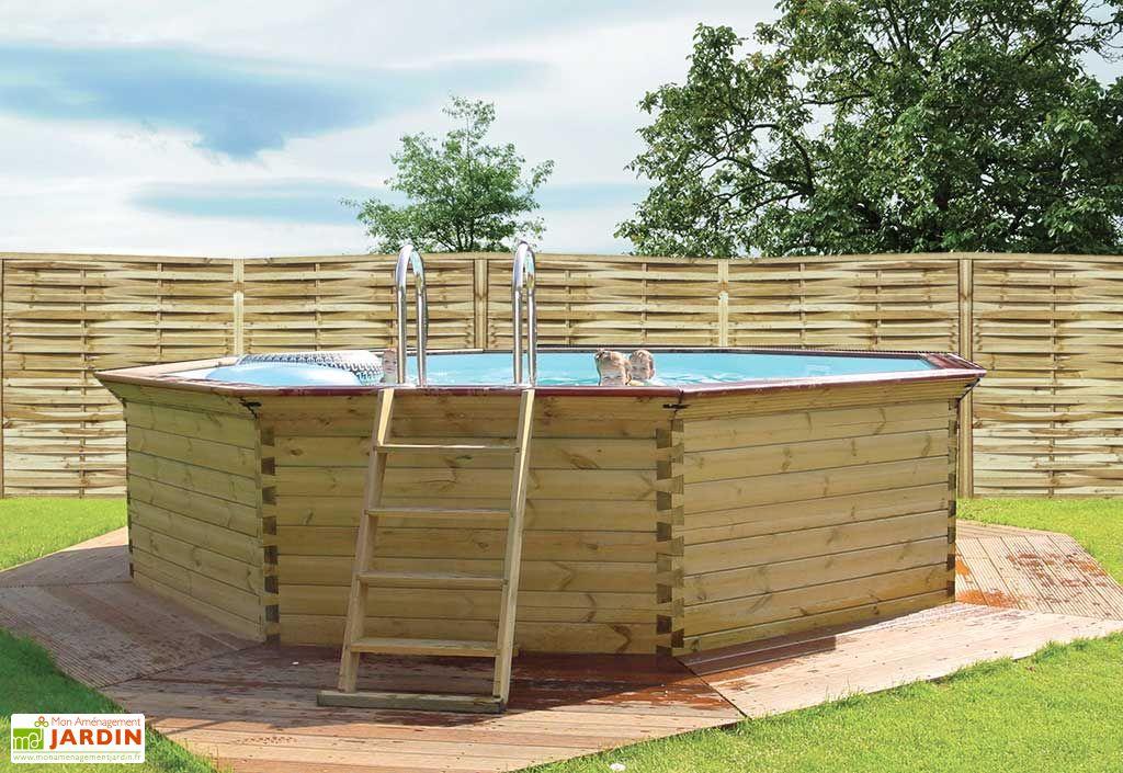 Piscine bois hors sol ronde octoo 4 2 420 cm gardipool for Catalogue piscine bois