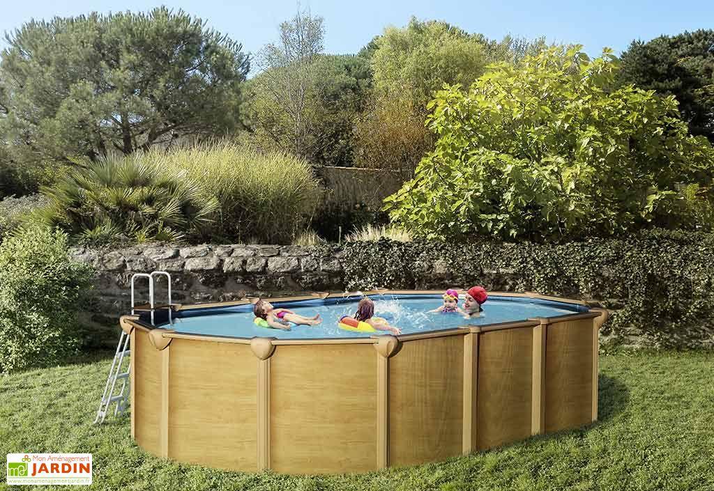 piscine en m tal aspect bois hors sol ovale 640x390cm. Black Bedroom Furniture Sets. Home Design Ideas