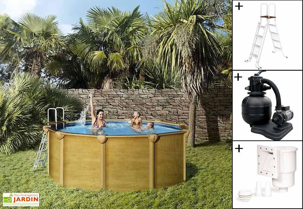piscine en mtal aspect bois hors sol ronde osmose 390cm accessoires - Piscine Hors Sol Metal Aspect Bois