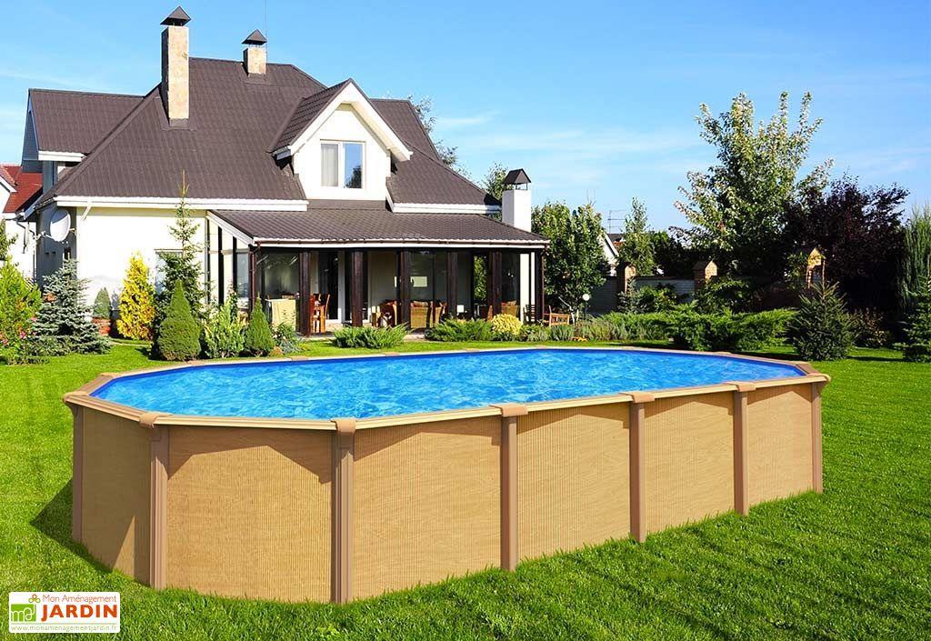 Grande piscine en métal imitation bois ovale 7,55 m hors sol
