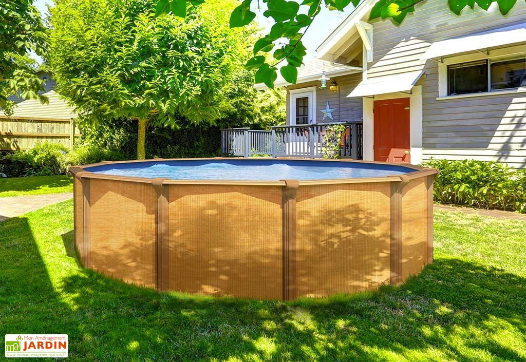 piscine en métal ronde imitation bois 4 m abak Trigano