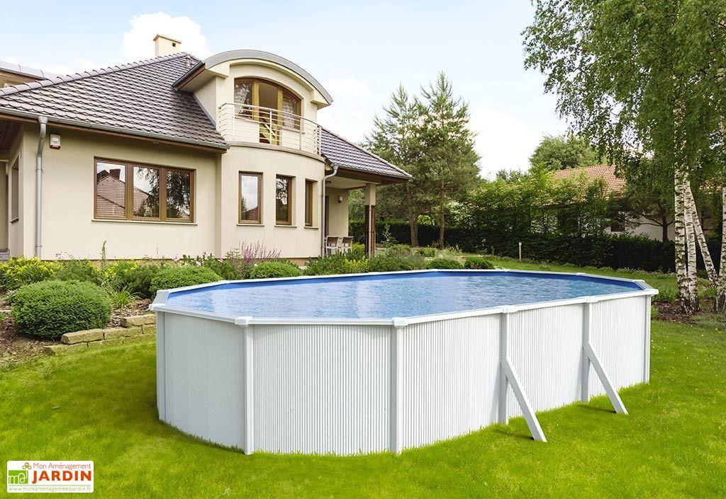 piscine en métal blanc ovale hors sol 6,5 x 4 m Abak