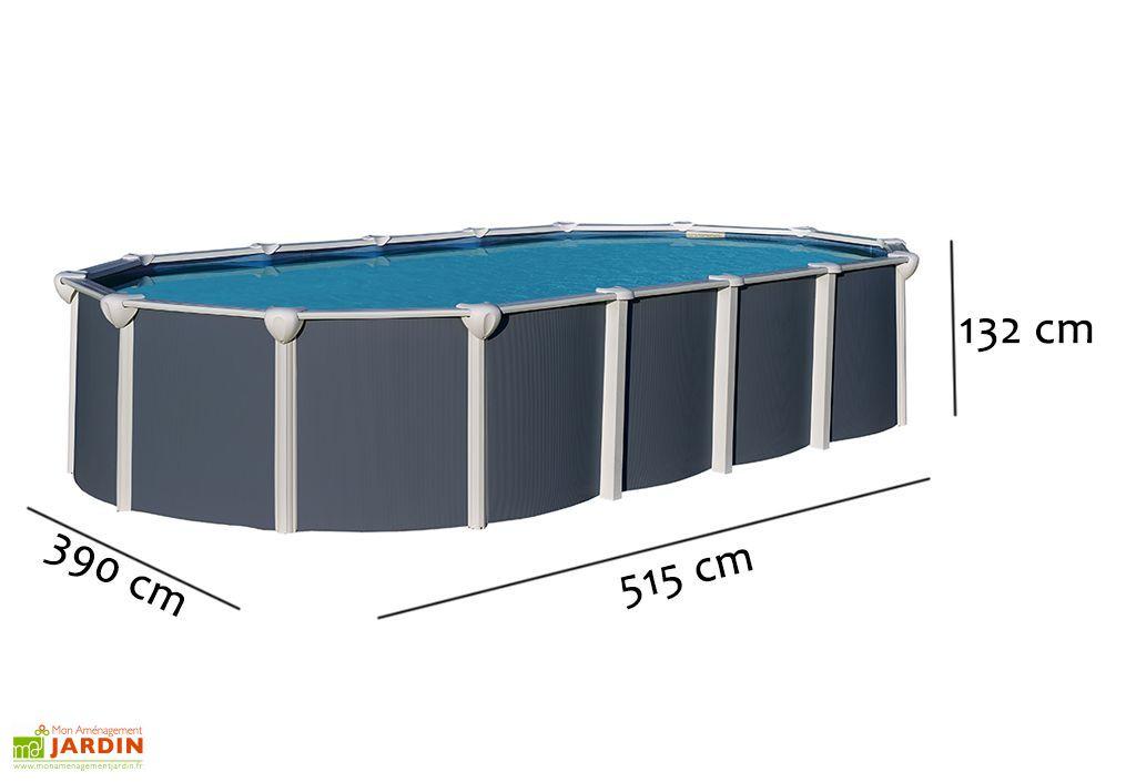 Piscine m tal anthracite hors sol ovale osmose 515x390cm for Piscine hors sol abak