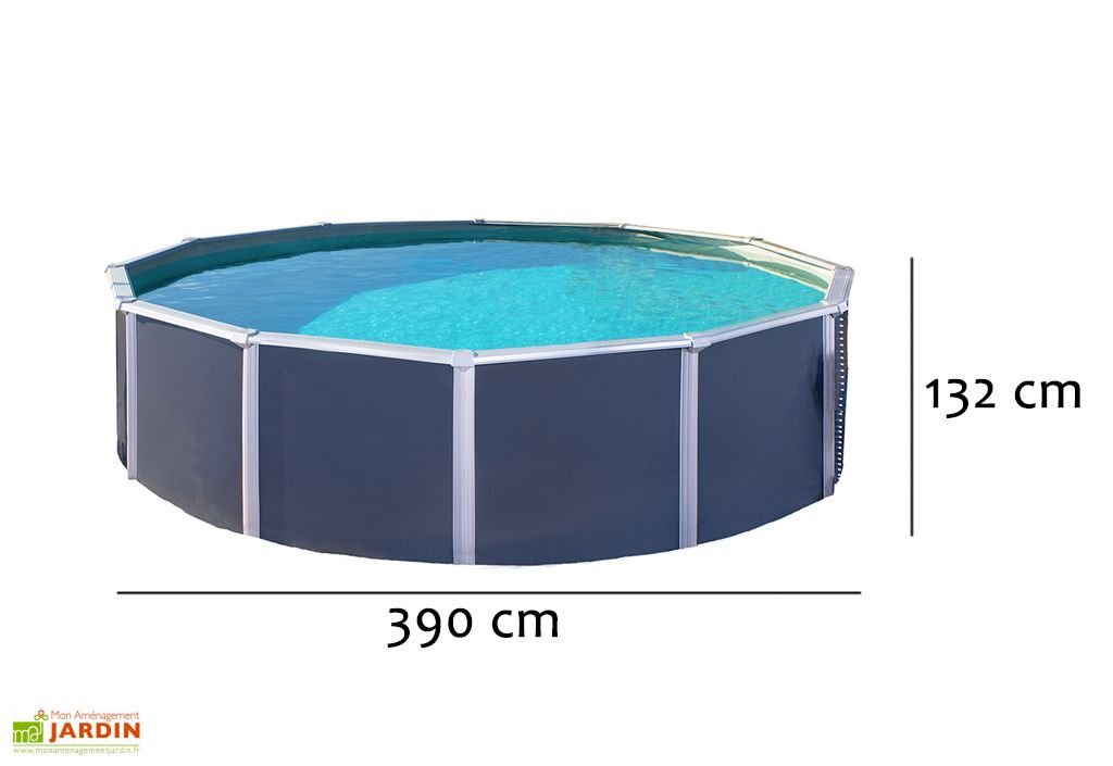 Piscine en m tal anthracite hors sol ronde osmose 390cm for Piscine hors sol metal