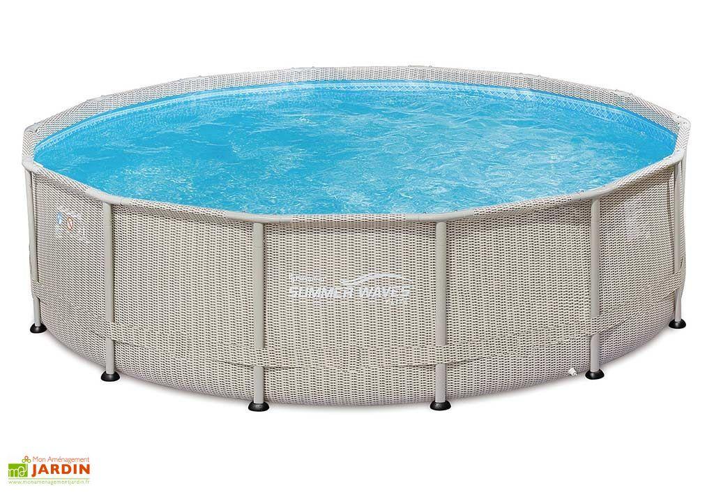 piscine tubulaire en métal anticorrosion et en PVC imitation osier rotin