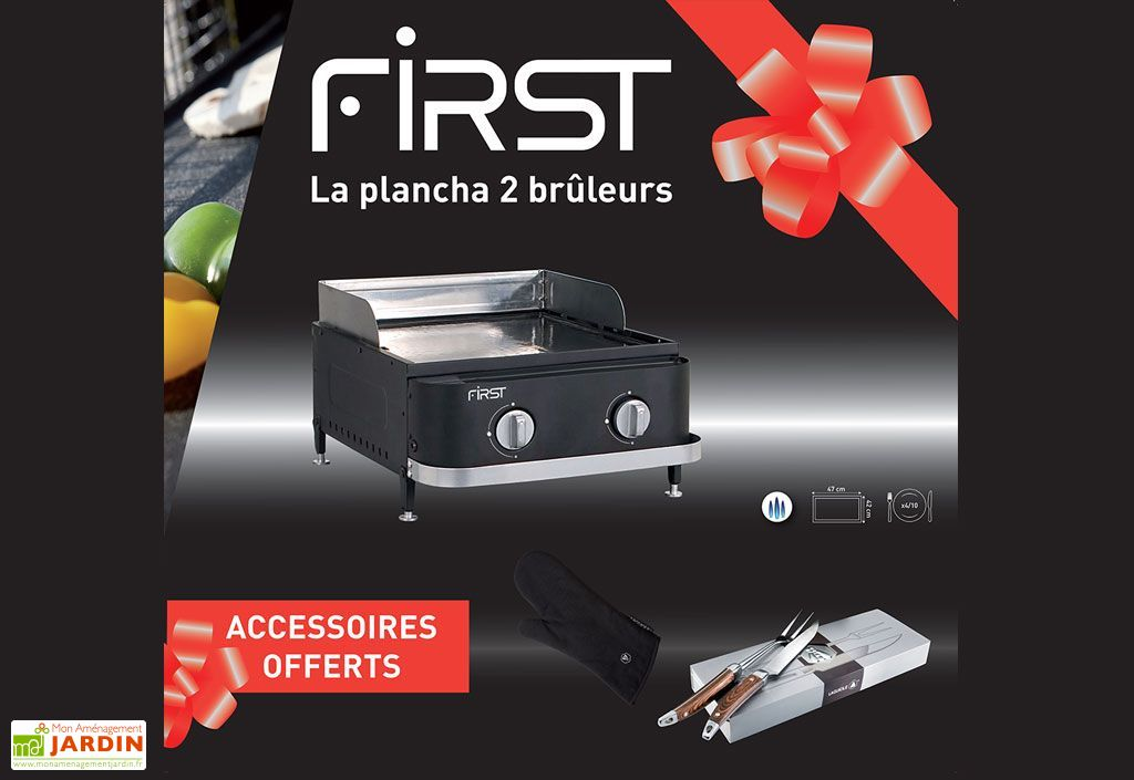Plancha Gaz First 2 brûleurs + Accessoires