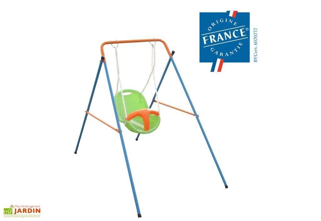 Portique balancoire acier b b funny 1 20m amca - Portique balancoire bebe ...