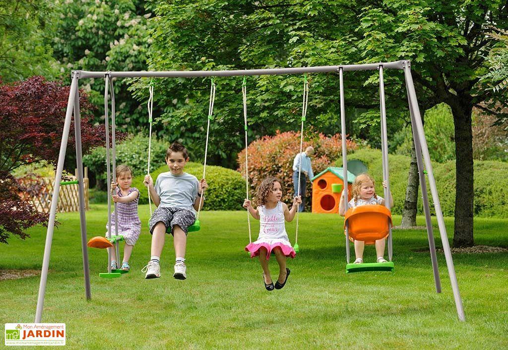 portique balançoire en acier Axion Trigano Jade 4 agrès 6 enfants