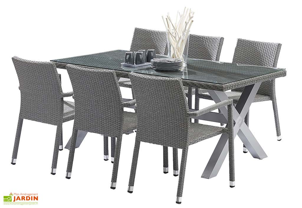 Salon de Jardin en Résine Tressée: Table + 6 Fauteuils