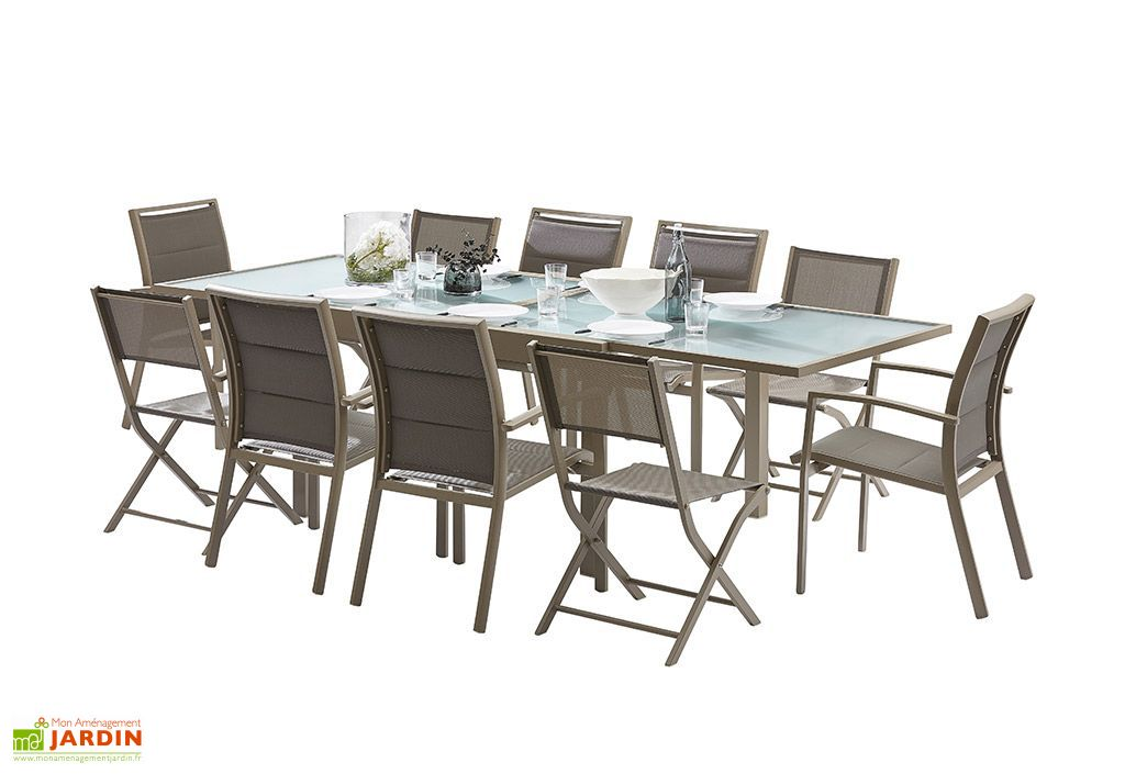 salon de jardin modulo table extensible 6 fauteuils 4 chaises wilsa. Black Bedroom Furniture Sets. Home Design Ideas