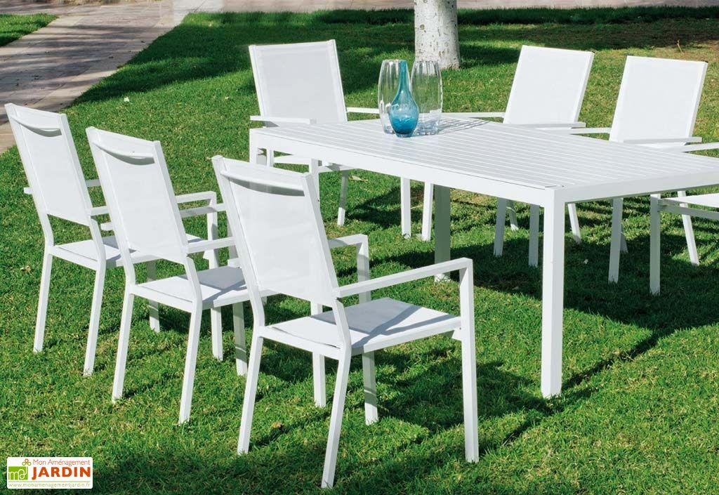 Salon de Jardin en Aluminium Sarana : 8 Fauteuils et 1 Table à Manger