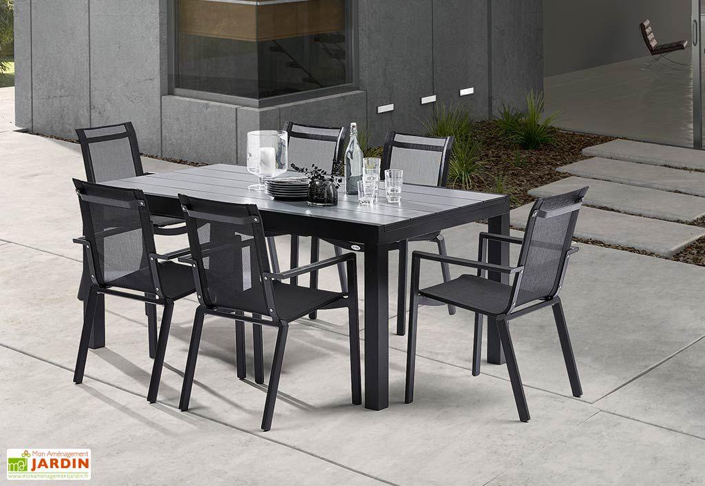 Salon de jardin hpl star noir 6 fauteuils 170 260x100 for Salon de jardin aluminium 10 personnes