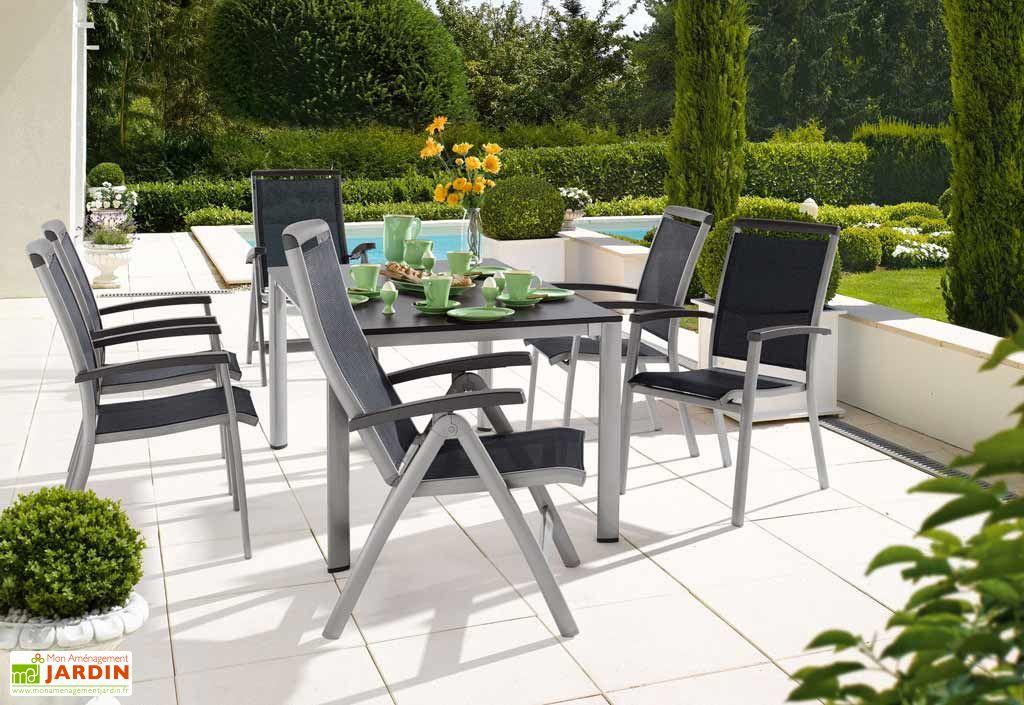 Salon de Jardin Alu avec Table Puroplan + 6 Chaises Graphite Royal