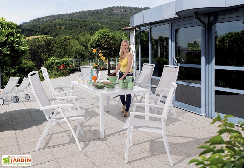Salon De Jardin Avec Table Extensible Puroplan 6 Chaises Blanc Trento Salon De Jardin Avec