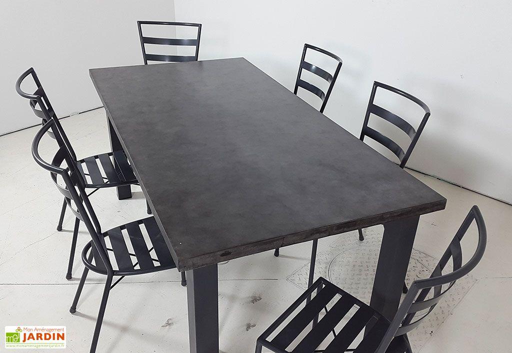 Salon De Jardin B Ton Cir Et Acier Table 180x90cm 6