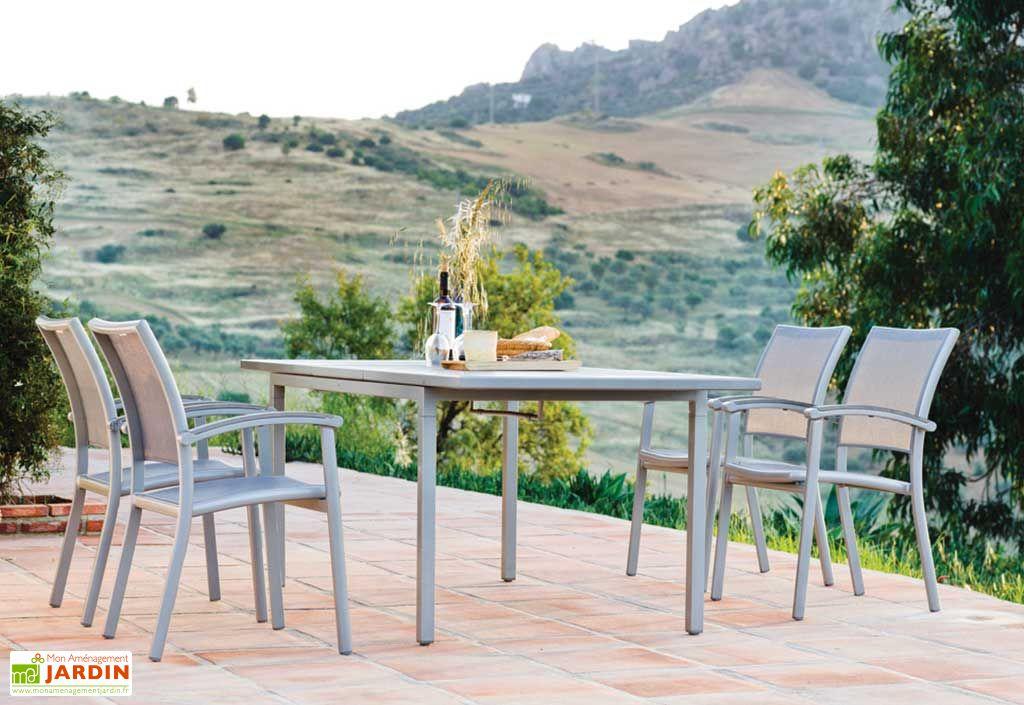 Salon de Jardin Alu Milano Table Extensible 160(210)x90 + Fts (4 ou 8)