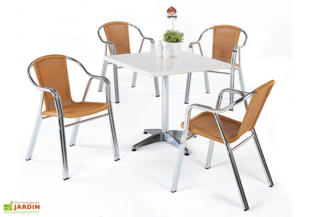 Salon de jardin Gales : 1 Table Carrée + 4 Fauteuils