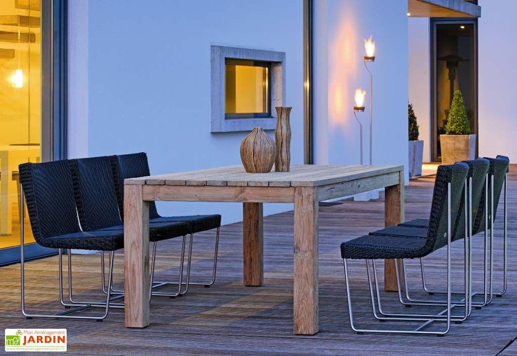 Salon de Jardin Mia Table Teck (220x100cm) + 6 Chaises Osier et Inox