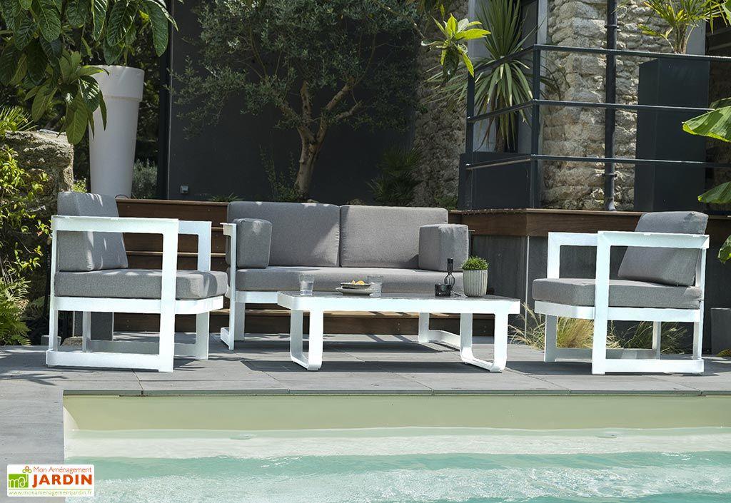 Salon de Jardin 4 Places en Aluminium DCB Garden Barcelona Blanc
