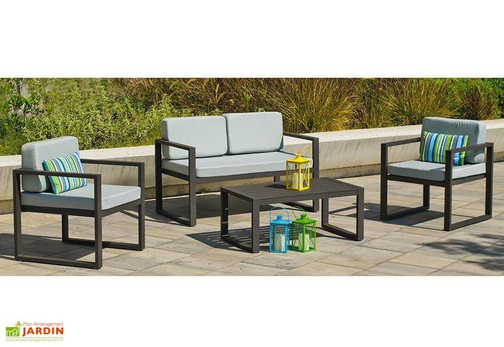 Salon de Jardin en Aluminium : Canapé, Fauteuils et Table Basse