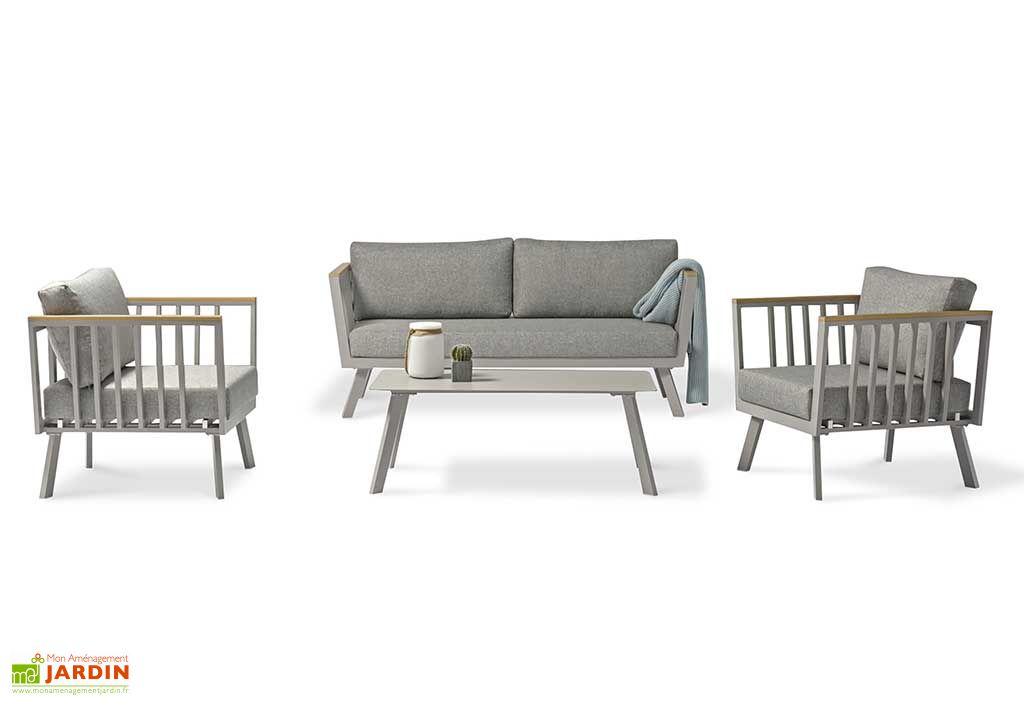 Salon de jardin 4 places en aluminium Napoli gris