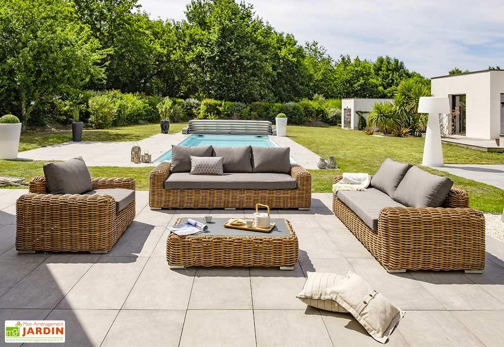 Salon de Jardin 6 Places en Aluminium et Résine Tressée Bora Bora