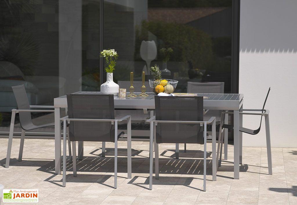salon de jardin en aluminium table 240 cm 6 fauteuils dcb garden. Black Bedroom Furniture Sets. Home Design Ideas