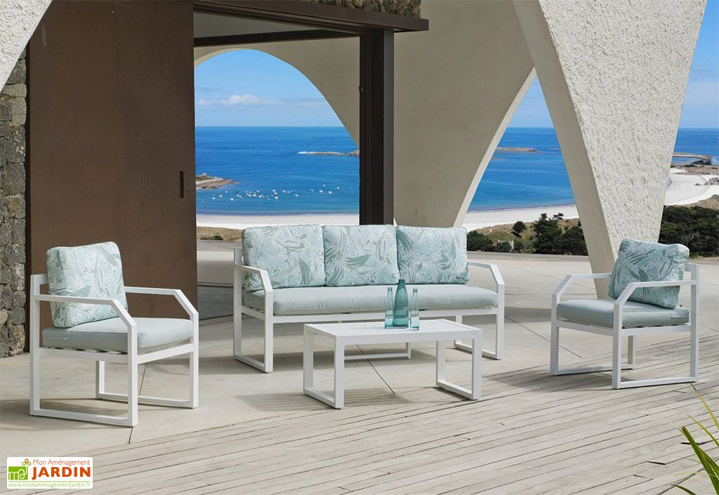 Salon de jardin en aluminium blanc Amza